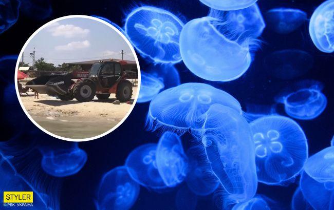 Популярный курорт на Азовском море чистят от гор медуз экскаватором: видео