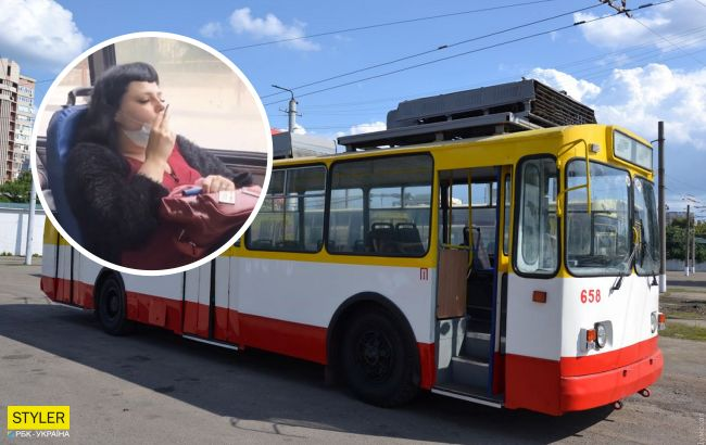 В Одессе женщина улеглась посреди троллейбуса и закурила: эпичное видео