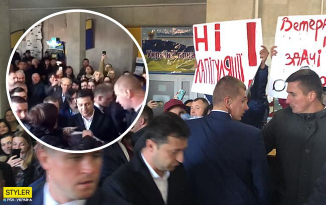 Дайте мне сказать: Зеленский в Тернополе попал в давку толпы (видео)