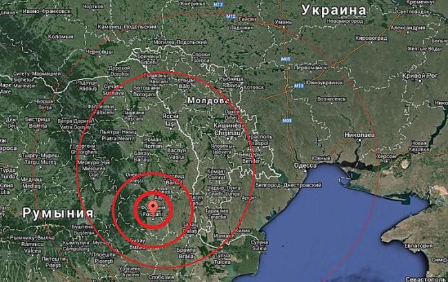 Фото: примерное место эпицентра землетрясения в Румынии