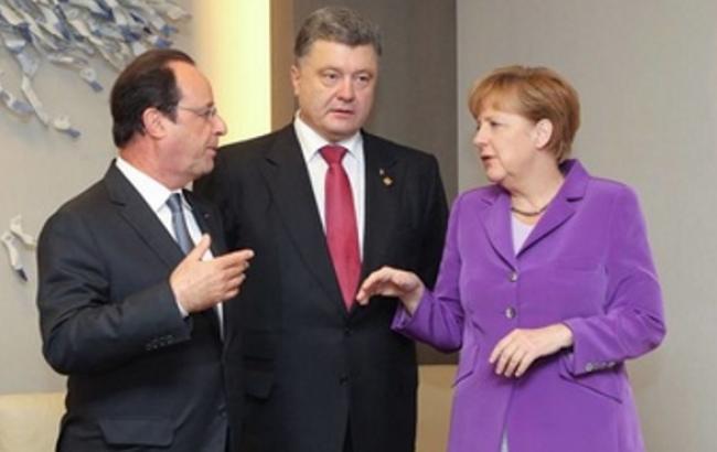 """Порошенко, Меркель і Олланд заявили, що """"мінський формат"""" переговорів є оптимальним"""
