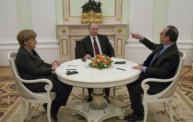 Фото: Ангела Меркель, Владимир Путин, Франсуа Олланд
