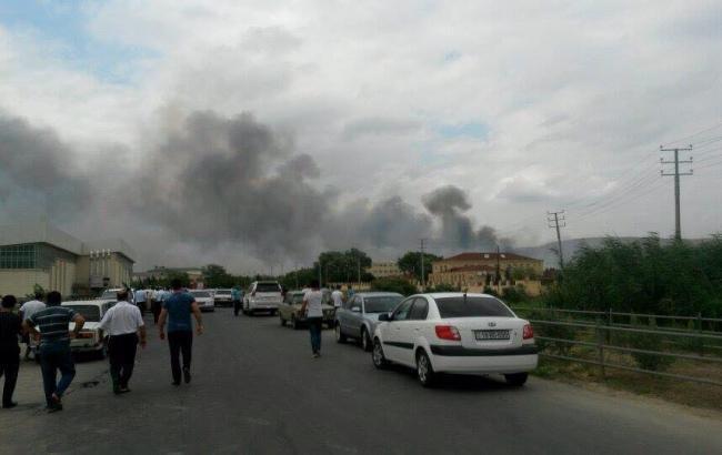Фото: взрыв на заводе в Азербайджане