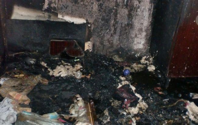 Фото: наслідки пожежі в 9-поверхівці Києва