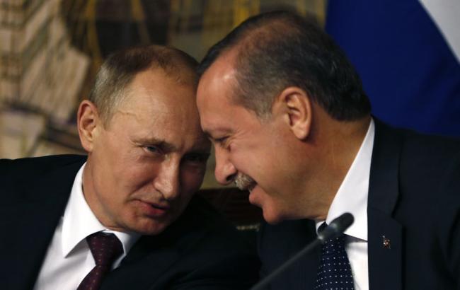 Фото: президенти РФ і Туреччини Володимир Путін і Реджеп Таїп Ердоган
