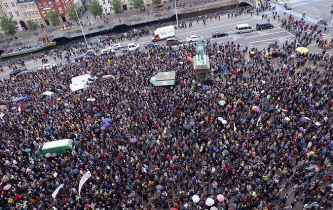 Фото: марш в поддержку беженцев в Копенгагене