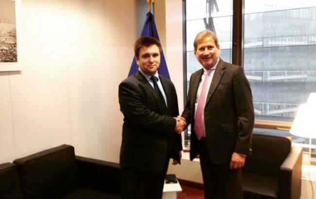 Климкин и еврокомиссар Хан обсудили готовность введения ЗСТ между Украиной и ЕС