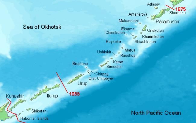 Фото: Курильские острова на карте