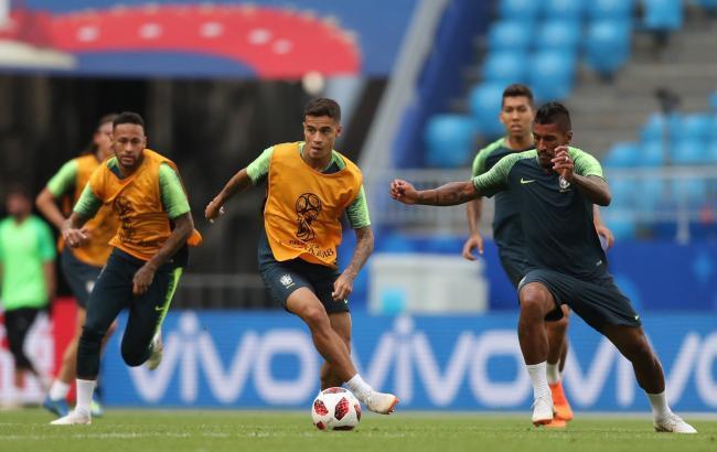Фото: тренировка сборной Бразилии перед матчем с Мексикой (twitter.com/cbf_futebol)