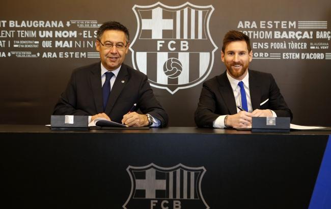 """Фото: президент """"Барселоны"""" Хосеп Мария Бартомеу и Лионель Месси (fcbarcelona.com)"""