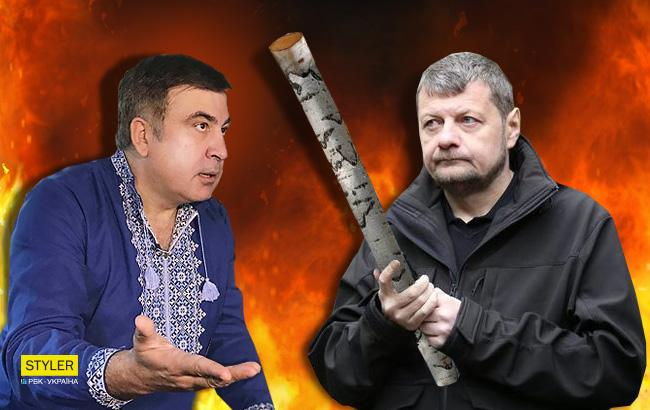 """""""Потвора - це ти"""": Мосійчук з палицею трохи не дав по голові Саакашвілі (відео)"""