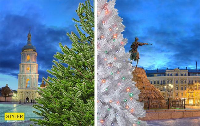 Фото: Новогодняя елка в центре Киева (коллаж РБК-Украина)