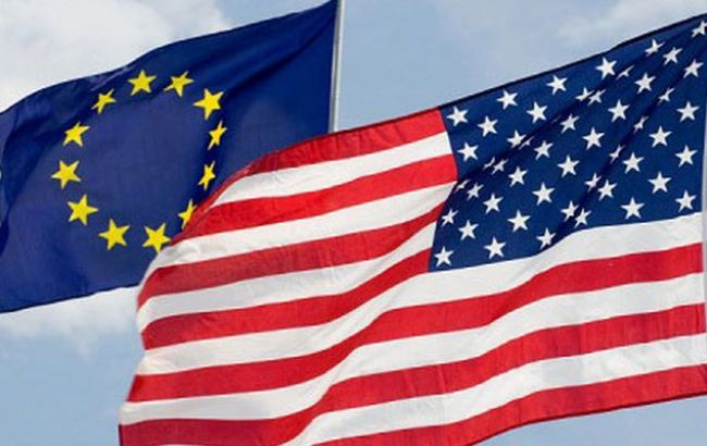 Фото: флаги США и ЕС