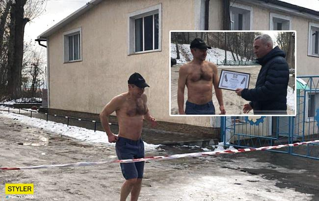"""Я решил подарить Тернополю рекорд"": спортсмен босиком пробежал по снегу"