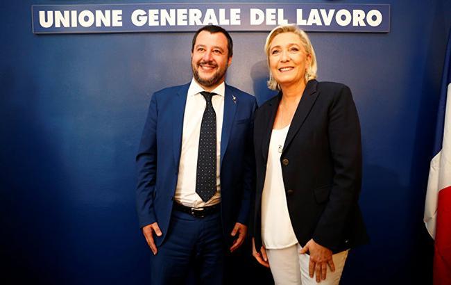 Фото: Маттео Сальвини і Марін Ле Пен (twitter.com/wdam.com)