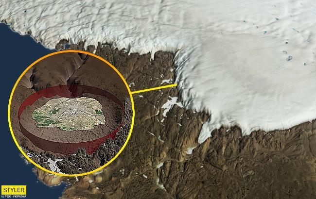 Дослідники виявили величезний кратер в льодах Гренландії