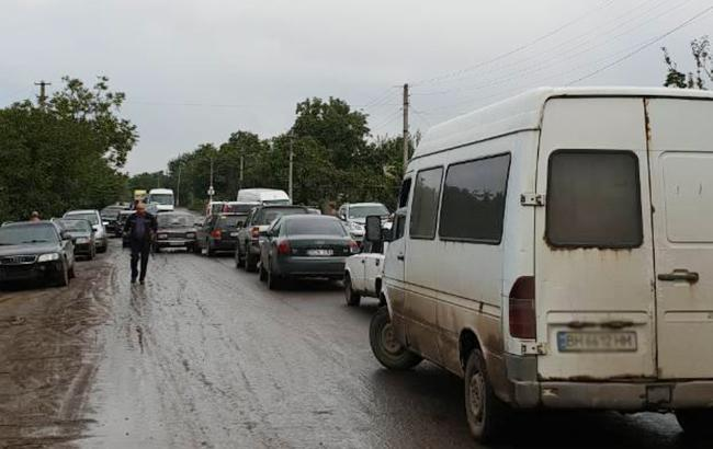 Фото: блокування траси (facebook.com usi.online)