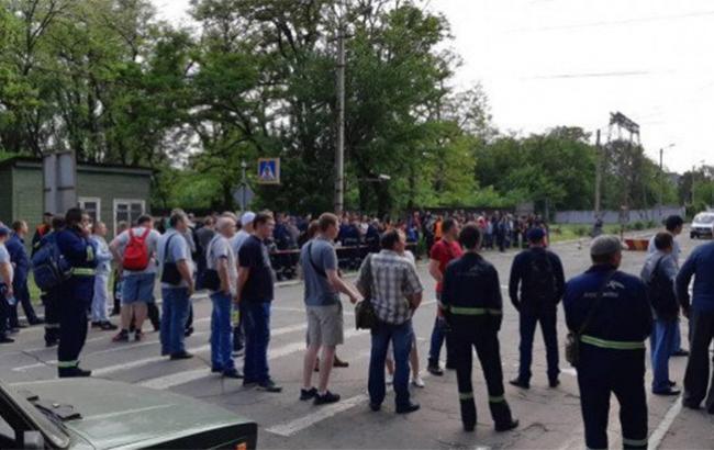Фото: забастовка в Кривом Роге (1kr.ua)