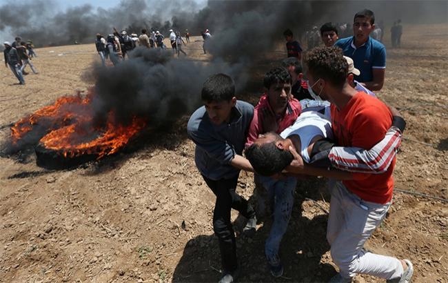 Фото: столкновения на границе с Израилем (twitter.com/WorldPTV)