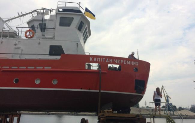 Фото: спуск на воду гидрографического судна после модернизации на КССРЗ (РБК-Украина)
