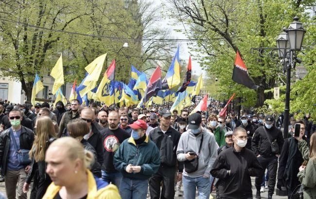 В Одессе состоялся марш защитников, организованный Нацкорпусом