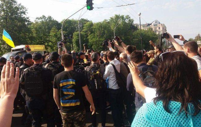 Фото: противники ЛБГТ-марша в Киеве (РБК-Украина)