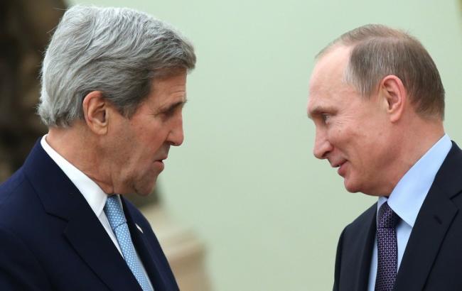 Фото: Джон Керри и Владимир Путин провели встречу в Москве (ТАСС)