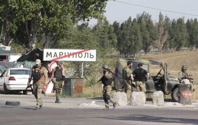 Фото: блокпост сил АТО на въезде в Мариуполь