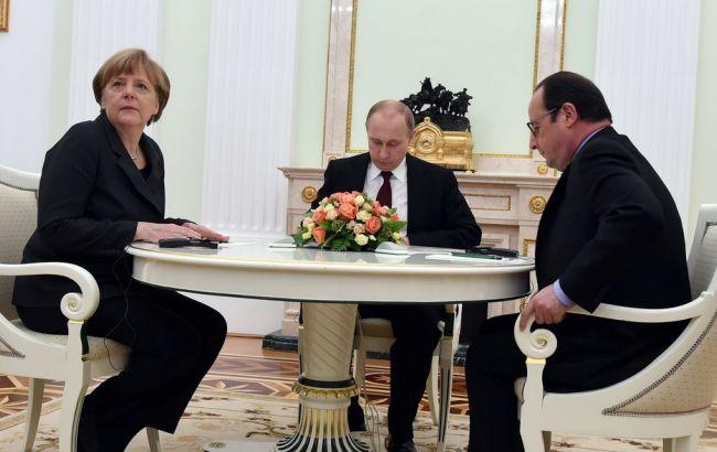 Путин, Олланд иМеркель побеседовали  оДонбассе— Без Порошенко