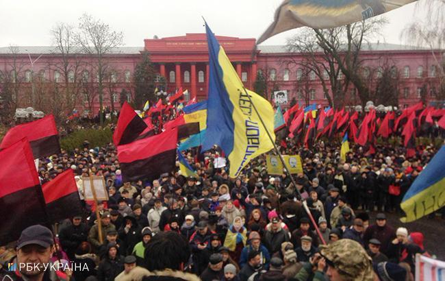 Мітинг у Києві: близько 3 тис. активістів зібралися біля університету Шевченка
