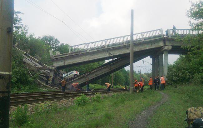 Фото: взорванный мост (twitter.com/Hrustalny_Luch)