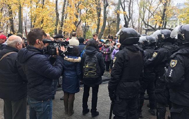 Фото: конфликт с полицией в горсаду Одессы (пресс-служба НПУ)