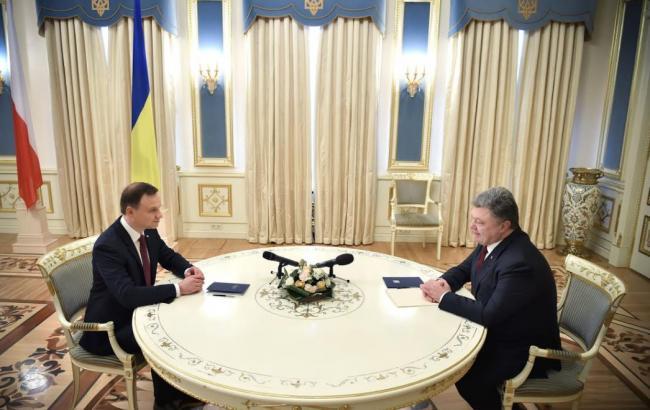 Фото: Анджей Дуда и Петр Порошенко (пресс-служба президента Украины)