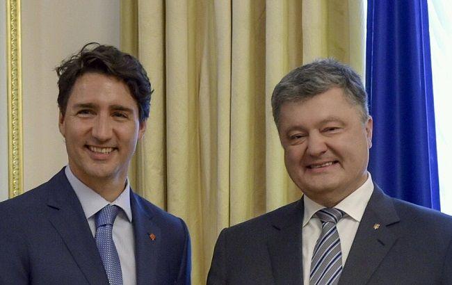 Фото: президент Украины Петр Порошенко и канадский премьер Джастин Трюдо