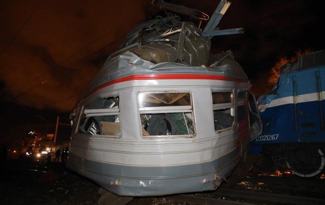 Фото: столкновение поезда с электричкой в Москве
