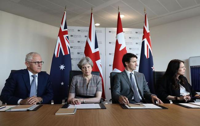 Фото: главы правительств Новой Зеландии, Британии, Канады и Австралии (SpyAdvicetwitter)