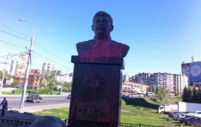 В Липецке облили краской памятник Сталину