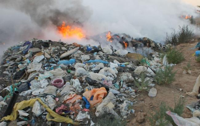 Фото: во Львовской области загорелась свалка