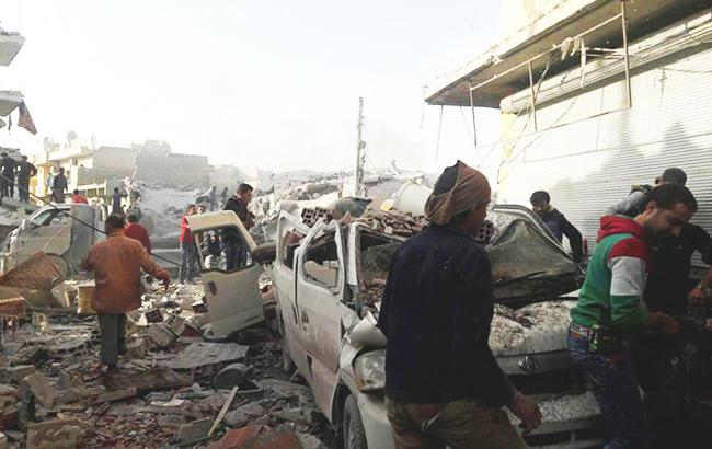 Фото: последствия бомбардировки Сирии (twitter.com/SyrCoalition)