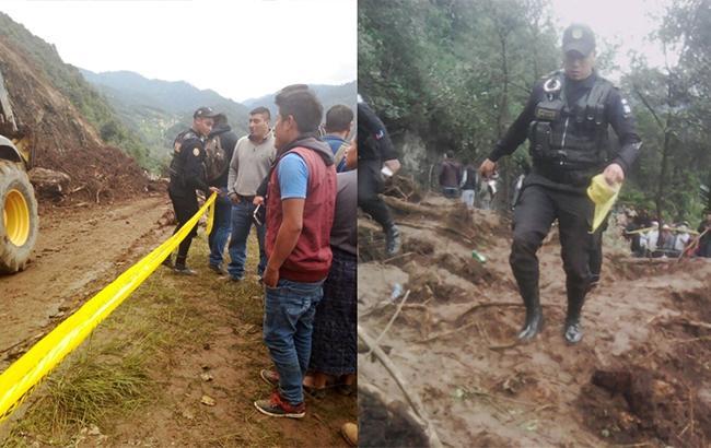 Фото: зсув у Гватемалі (twitter.comPNC Guatemala)