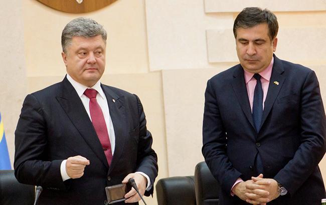Фото: Михайло Саакашвілі і Петро Порошенко (УНІАН)