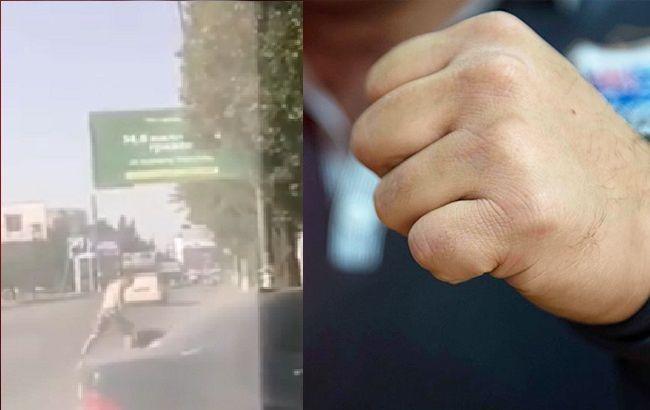 Втрутилися: у Миколаєві авто збило молодика, який бив людину на дорозі (відео)