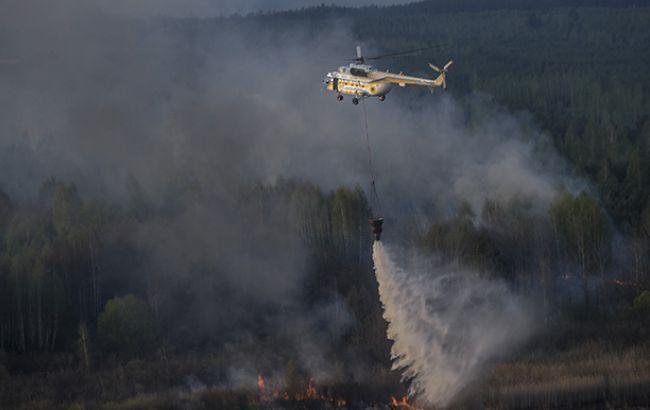 Фото: пожежа в Чорнобильській зоні (yatsenyuk.org.ua)